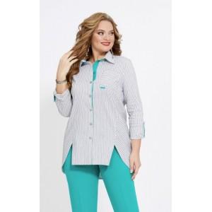 JERSEY 1877 серый со светло-бирюзовым Блуза