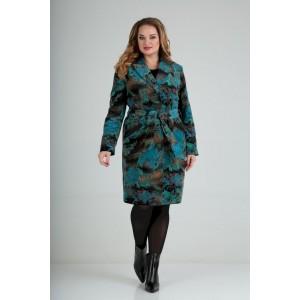 LADY LINE 486 чёрное+бирюза Пальто