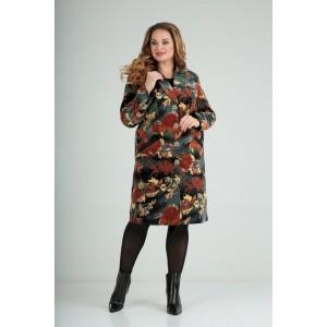 LADY LINE 486 чёрное+терракот цветы Пальто