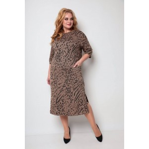 MICHEL-CHIC 2069 коричневый-принт Платье