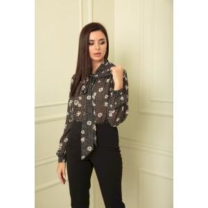 SANDYNA 13822 черный в цветы Блуза