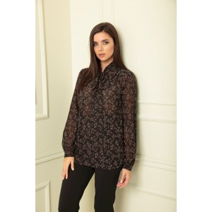 SANDYNA 13822 черный веточки Блуза