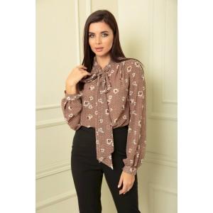 SANDYNA 13822 коричнево-бежевый в цветы Блуза