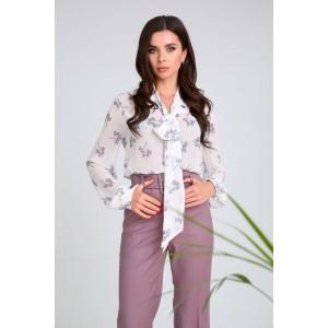 SANDYNA 13975 бело-лиловый в цветы Блуза