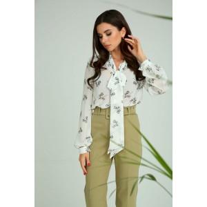 SANDYNA 13975 бело-зеленый в цветы Блуза