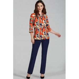 TEFFI 1419 Оранжевый+цепи Блуза